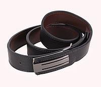 Двухсторонний стильный мужской кожаный ремень 3,3 см черный-коричневый