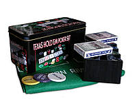 Покерный набор на 200 фишек с номиналом в металлической коробке Техасский холдем 200т