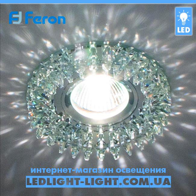 Врезной точечный светильник Feron CD2540 стекло прозрачный хром.