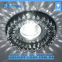 Врезной точечный светильник Feron CD2540 стекло черный хром.