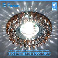 Врезной точечный светильник Feron CD2540 стекло коричневый.