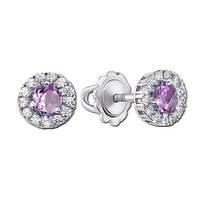Серебряные серьги пуссеты с фиолетовыми камнями