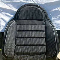 Чехлы универсальные Pilot B кожзам серый + ткань темно-серая  (с карманом)