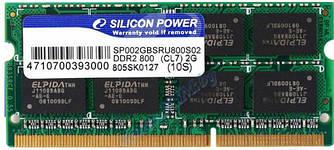 Оперативная память Silicon Power SODIMM DDR2 2 GB 800 MHz BULK SP002GBSRU800S02