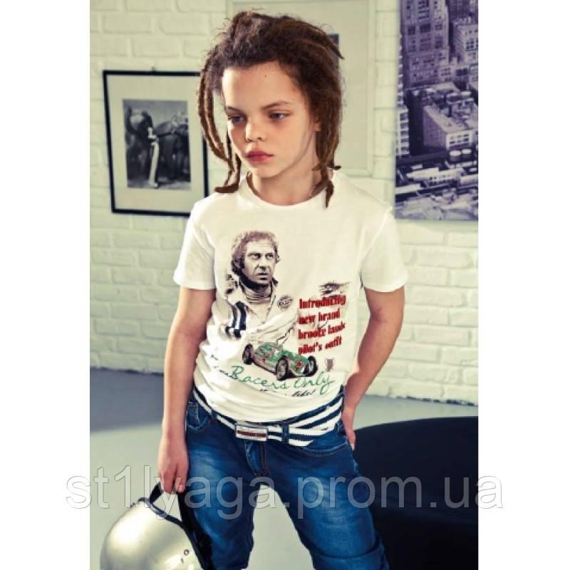 Стильная футболка для мальчика с принтом цвет серый размер 28