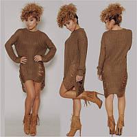 Женский вязанный стильный свитер-платье в разных цветах. Размер универсальный 42-46.