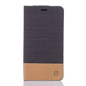 Чехол книжка для Doogee Valencia 2 Y100 Pro боковой с отсеком для визиток, Double color Темно-коричневый