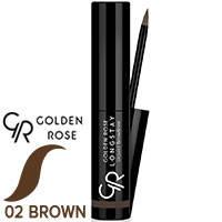 Golden Rose - Подводка для бровей Longstay Liquid Browliner Тон 02 коричневая, фото 2