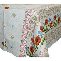 Скатерть рогожка на раскладной стол Вилена размер 220х150 Маки