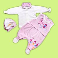 Нарядный комплект для девочки 3ка ,Человечек для малышки с начесом, боди и человечек