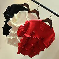 Кофточка женская стильная с рюшами из мягкого трикотажа,стильные кофты