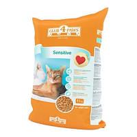 КЛУБ 4 ЛАПЫ 11 кг сухой корм для кошек чувствительное пищеварение Sensetive