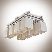 Люстра 8 ламповая, деревянная c абажурами для большой комнаты