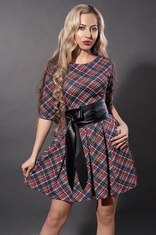 Женское платье-клеш с широким поясом, размеры 44,46,48