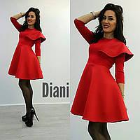 Платье с пышной юбкой и воланом на плече неопрен и джерси 3 цвета SMdi1099