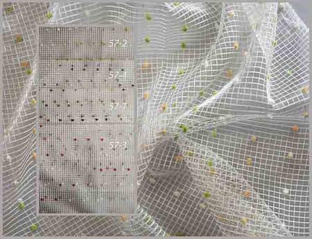 Органза, сетка с цветными бархатными точками