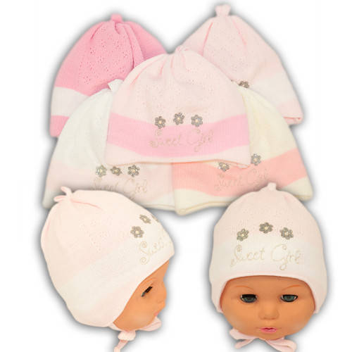Вязаная шапка на завязках, для девочки, N102