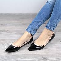 Балетки женские Valentino черный лак, обувь женская
