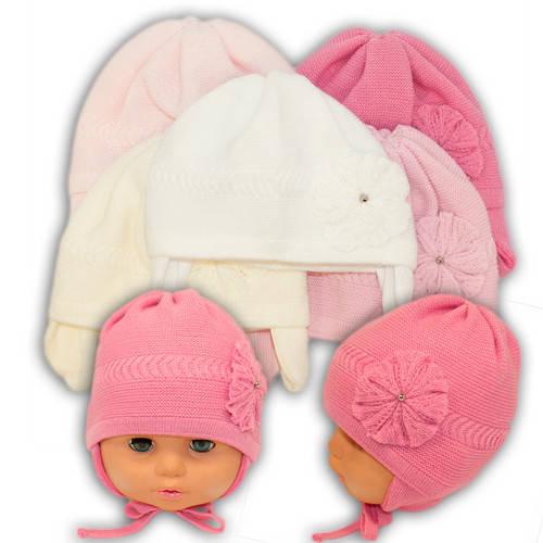 Вязаная шапка на завязках, для девочки, N103