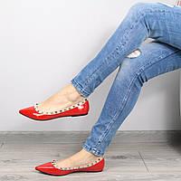 Балетки женские Valentino красный лак, обувь женская