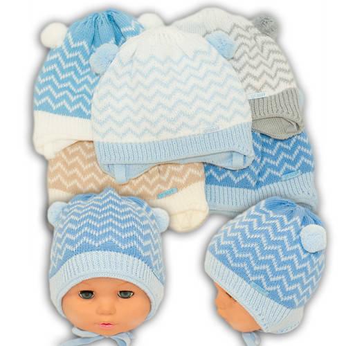 Вязаная шапка на завязках, для мальчика, N107