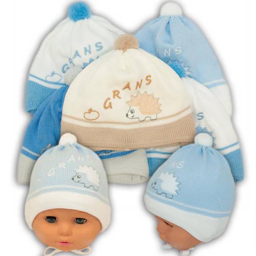 Вязаная шапка на завязках, для мальчика, N110