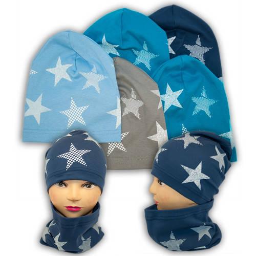 Трикотажные шапки детские с хомутом и принтом, Y81M