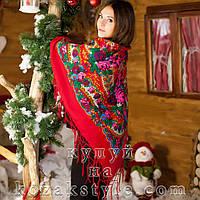 Українська хустка (125х125) червона, фото 1