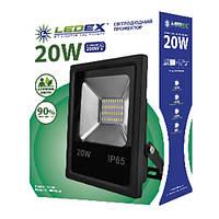 Светодиодный прожектор LEDEX 20W slim, 1600lm, 6500К холодный белый 120º, IP65