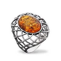 Серебряный перстень с янтарем и золотом