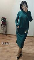 Теплое платье из ангоры с украшением на карманах миди большие размеры 5 цветов BTdi12