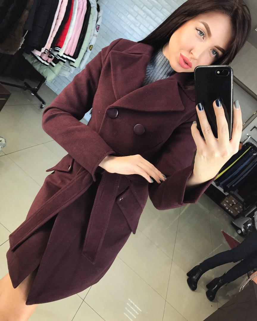 b6885cf05d4 Женское демисезонное кашемировое пальто на пуговицах с поясом. Материал  кашемир. Размер 42-48.