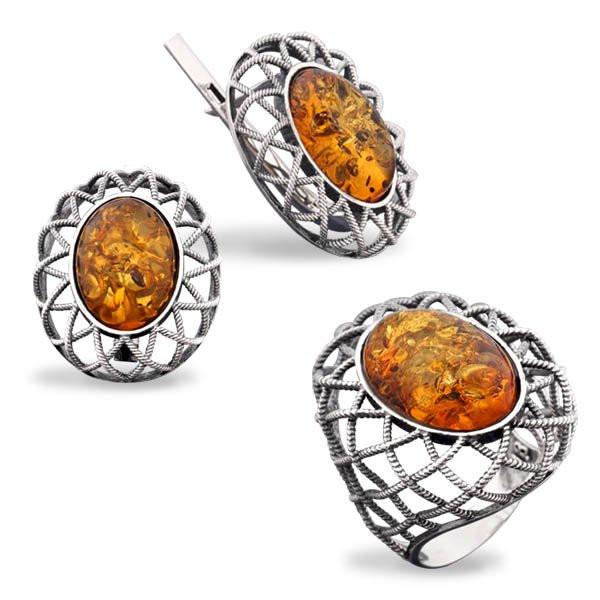 Серебряный комплект серьги и кольцо с золотом и янтарем