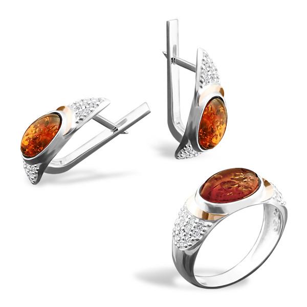 Серебряный комплект: серьги и кольцо c янтарем и золотом