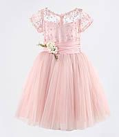 Д-101334 Нежно розовое детское бальное платье из гипюра и фатина на выпускной