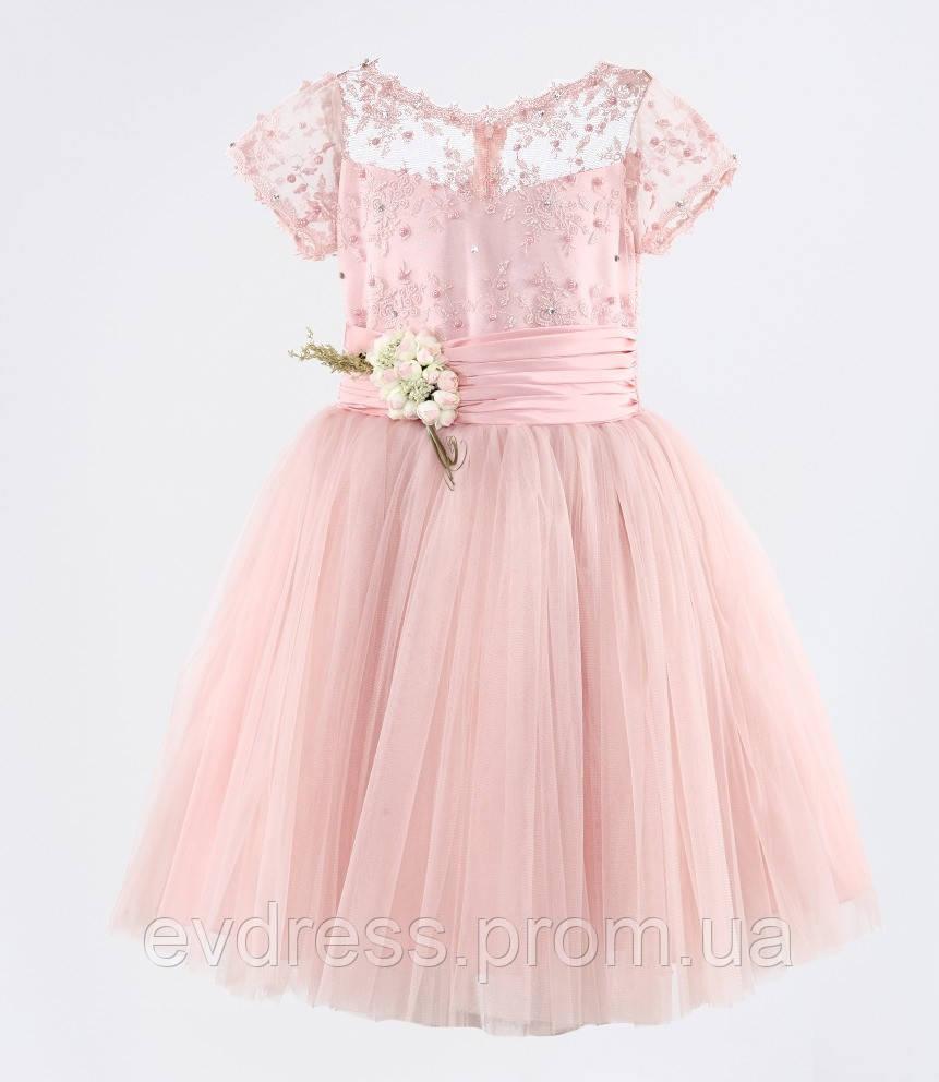 3441a6f26fc9c33 Д-101334 Нежно розовое детское бальное платье из гипюра и фатина на  выпускной - Интернет