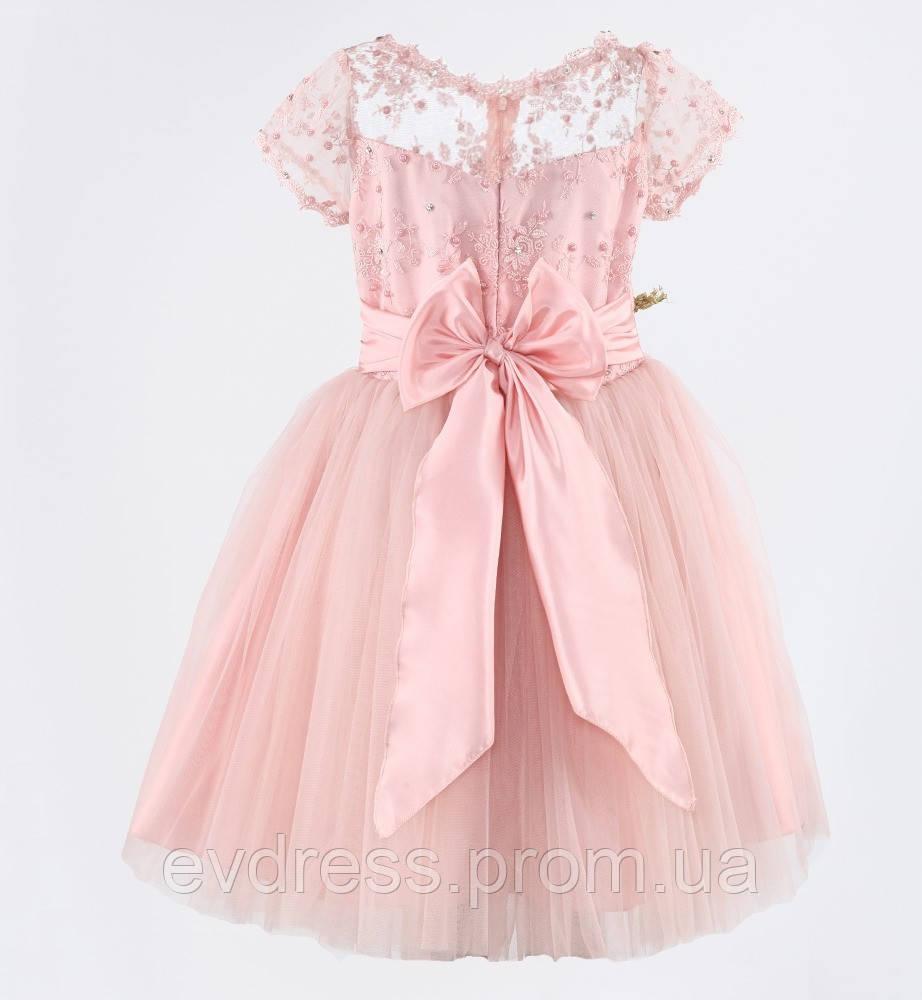 77ad8a93cc9657c Д-101334 Нежно розовое детское бальное платье из гипюра и фатина на  выпускной, фото