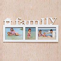 """Деревянная фоторамка """"Family"""" для 3 фотографий белая"""