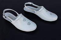 Женские кожаные босоножки с закрытым носком, цвет белый, фото 1