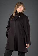 Кашемировое пальто большого размера на потайной застежке с воротничком-стойка
