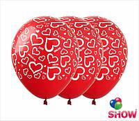 """Воздушные шарики Любовь на красном 12"""" (30 см)  ТМ Show"""
