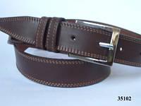 Ремень кожаный мужской коричневый с двойной строчкой 3,5см