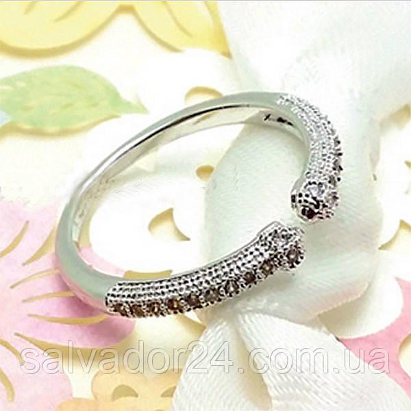 Позолоченное кольцо для мизинца с фианитами