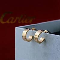 Серьги - пуссеты 18К позолота Cartier (реплика)