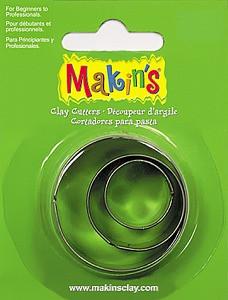 Каттер Makin's Мейкинс металлический для работы с полимерной глиной, Круг, 3шт.