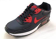 Кроссовки Nike Air Max кожаные, сине-белые унисекс(найк аир макс)( р.37,38,41)
