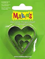 Каттер Makin's металлический для работы с полимерной глиной, Сердца, 3шт.