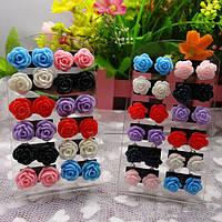 Сережки серьги розочки разные цвета пара