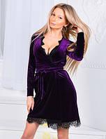 """Элегантное короткое вечернее платье 9019 """"Бархат Кружево Халат"""" в расцветках"""