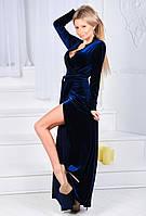 """Элегантное вечернее длинное платье 9018 """"Бархат Кружево Халат Макси"""" в расцветках"""